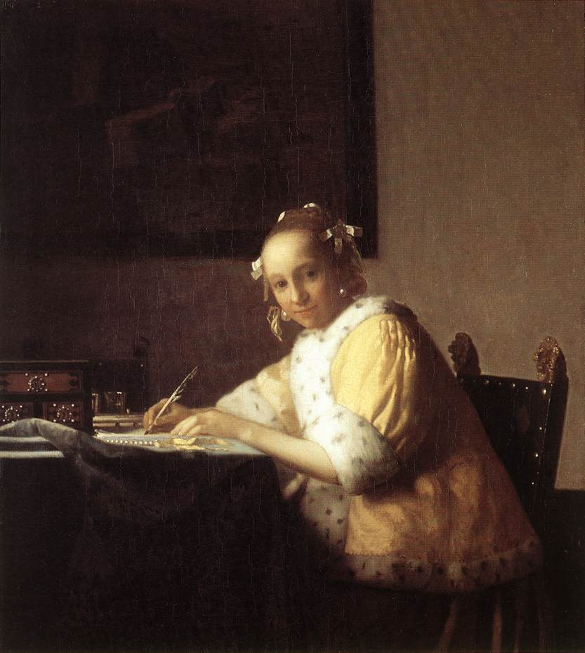 Jeune femme écrivant une lettre de Vermeer
