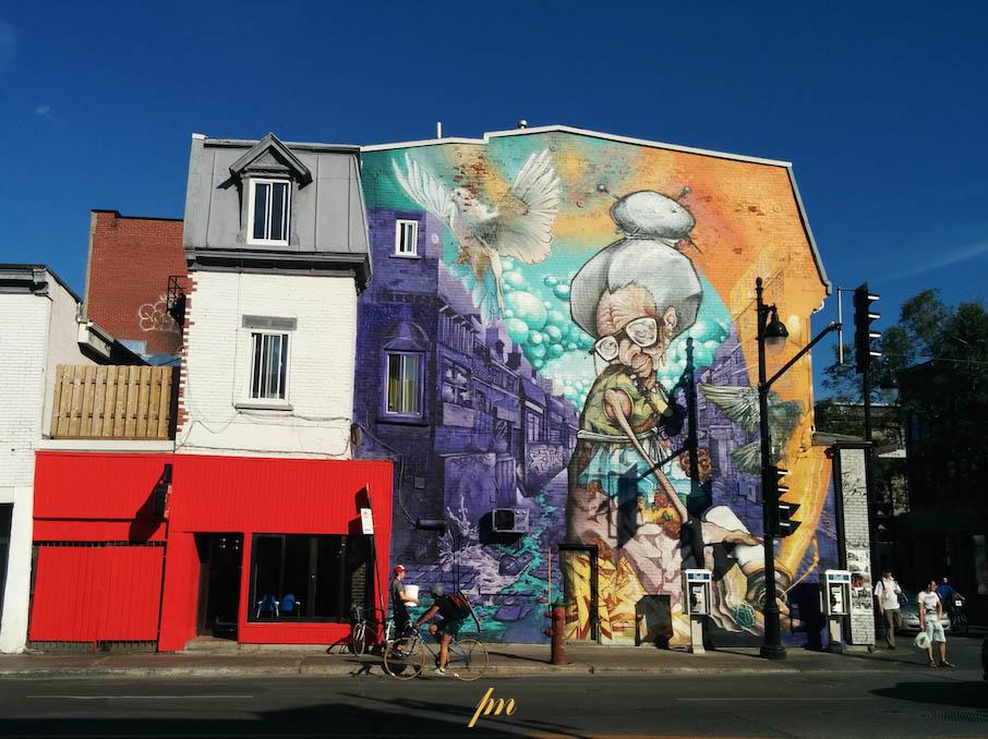 Fresque murale sur la rue des Pins