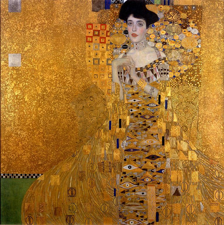Adèle Bloch-Bauer I, peinture à l'huile (1907, 138 × 138 cm), Neue Galerie (New York).